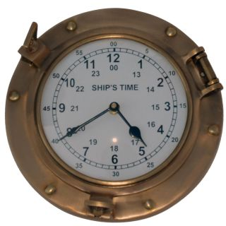 Brass Maritime Ships Porthole Wall Clock Nautical Decor photo