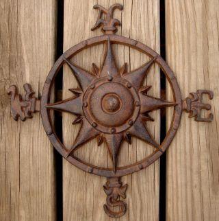 Nautical Rustic Iron Directional Compass W Fleur De Lis photo