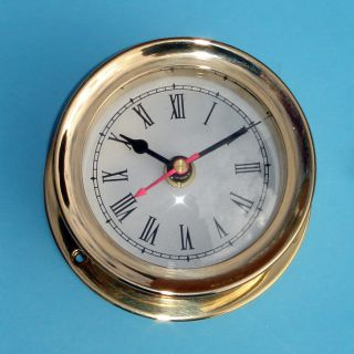 Vintage Maritime Ship ' S Solid Brass Gimbals Ships Clock photo