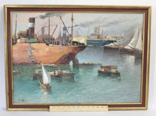Vintage Wpa - Era Artist Signed O/c Nautical Boat Harbor Oil Painting,  Ciaffe? photo