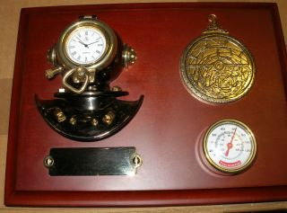 Nautical Dark Wood Plaque Antique Brass Diving Helmet Clock &thermometer New photo