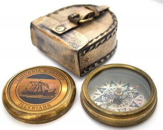 Collectable Brass Compass With Case – Liburnia Warship photo