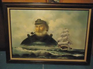 Antique Nautical Painting,  Ship & Captain By: Scott Myers photo