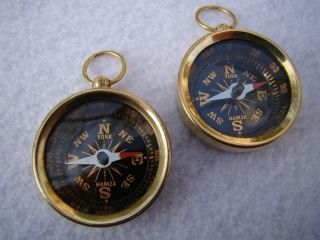 (2) Brass Pocket Compass Nautical Camping Hiking photo