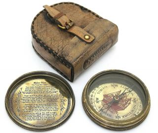 Robert Frost Poem Compass - Pocket Compass With Leather Case photo