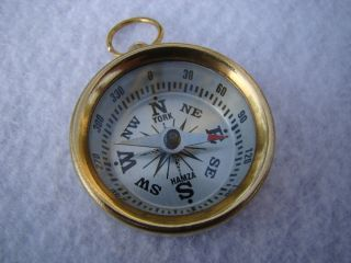 Brass Pocket Compass Magnetic Nautical Camping Hiking White Face photo