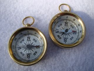 (2) X Brass Pocket Compass Nautical Camping Hiking Magnetic White Face photo