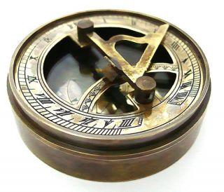 Brass Sundial Compass - Pocket Box Sundial photo