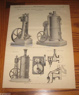 Uk Vertical Steam Engines & Boilers Ransome 1879 British Engineering Print photo