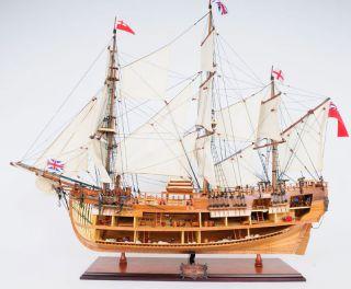 Hms Bark Endeavour Cutaway Wooden Tall Ship Model 37