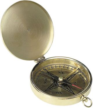 Victorian Pocket Compass Brass Nautical Instrument New photo
