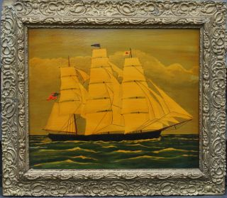 20th C.  Primitive Oil On Board - Full Sail Ship With American Flag - Unsigned photo