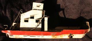 Freighter Ship Tin Model Folk Boat Vintage Antique Nautical Transport Display photo