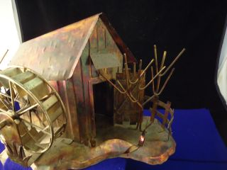 Copper Tin Style Cabin With Water Wheel / Plays Moon River Working Condition photo