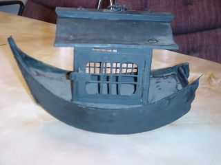 Antique Chinese Metal Boat Lantern Ship Light Old Hand Cut Not Cast Handmade photo