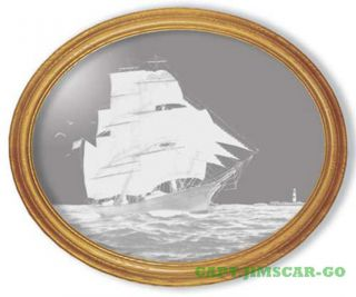 Oval Etched Nautical Wall Mirror Of Tall Sailing Ship photo
