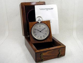Vintage 1965 Russian Navy Marine Ship Deck Watch Chronometer 1 - Mchz + Wooden Box photo