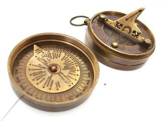 Brass Sundial Compass - Dollond London Pocket Sundial photo