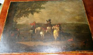 Antique C.  1760 Dutch Oil Philips Pieter Wouwerman Gypsy Old Master White Horse photo