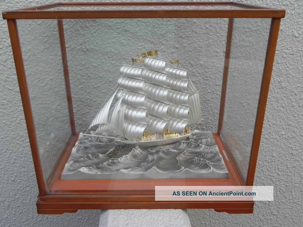 Large Old Signed Japanese 3 Masted Sterling Silver 985 Ship By Takehiko Japan Other photo