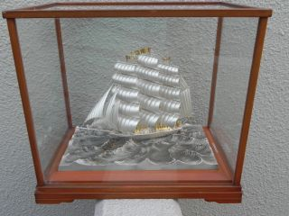 Large Old Signed Japanese 3 Masted Sterling Silver 985 Ship By Takehiko Japan photo