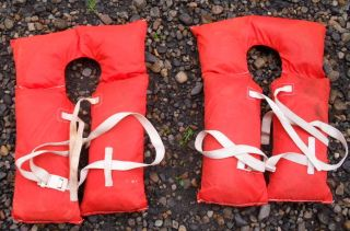 Set Of 1960 - 70 ' S Gladding Life Jackets Model Ak - 1 Adult Sz Type 2 Buoyvant Vest photo