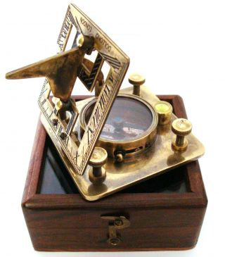 Brass Sundial Compass With Wooden Case - Dollond London Sundial photo