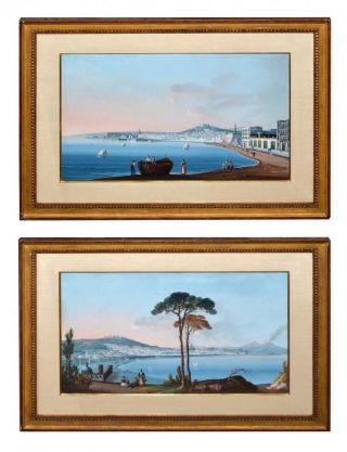Pair Antique Watercolor /gouache View Naples Showing Mount Vesuvius photo