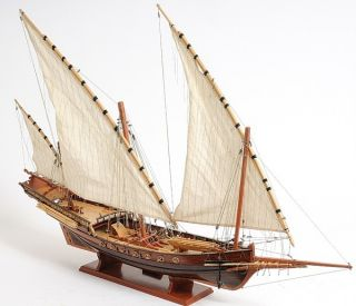 Xebec Barbary Pirate Decorative Wood Ship Model 35