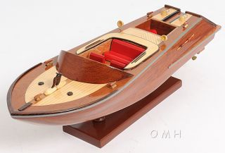 Handcrafted Classic Runabout Speed Boat Wood Model 16