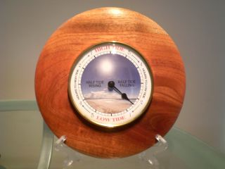 Large Australian Red Cedar Wood Turned Wall Tide Clock photo