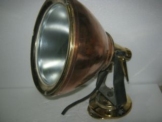 Vintage Ship Marine Electric Spot Search Light Made Of Brass & Copper - Rare photo