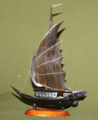Vintage European Cow Horn Sailing Ship Model Figurine photo