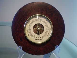 Western Australian Jarrah Burl Wood Turned Wall Barometer photo
