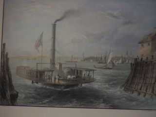 Rare Antique Hand Colored Print Of The Ferry At Brooklyn New York C1838 photo
