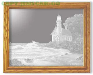 Nautical Lighthouse In A Cove Art Etched Wall Mirror photo