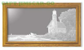 Oak Nautical Lighthouse In Cove Etched Wall Mirror Art photo