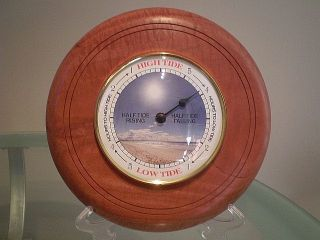 Fiddleback Western Australian Jarrah Wood Turned Wall Tide Clock photo