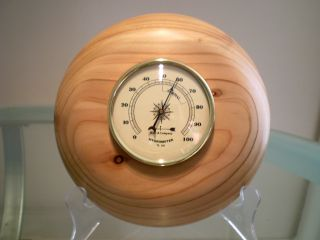 Australian White Cedar Wood Turned Wall Hygrometer photo
