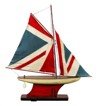 Union Jack Wooden Model Sailing Ship Nib photo