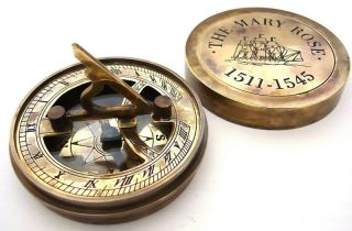 Pocket Sundial Compass Mary Rose London photo