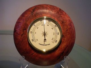 Australian Coolabah Burl Wood Turned Wall Thermometer photo