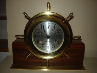 1979 Seth Thomas Vintage Helmsman Ships Bell Clock Brass W/ Base photo