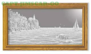 Oak Split Rock Light Lighthouse Nautical Etched Mirror photo
