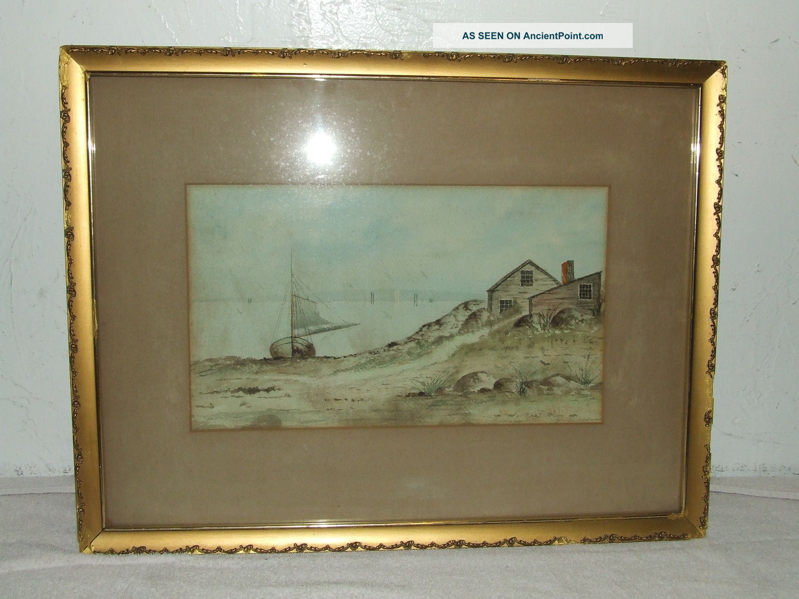Maritime Ship Watercolor Painting;d.  A.  Fisher (american 1867 - 1940) Listed Artist Other photo