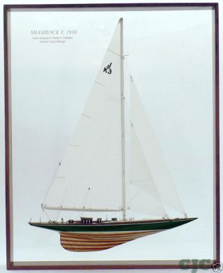 Framed Shamrock V Half Model Americas Cup J Boat W/sail photo