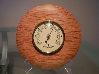 Forest Oak Wood Turned Wall Thermometer photo