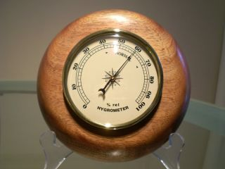 Brown Syris Wood Turned Wall Hygrometer photo