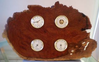 Natural Edge Australian Coolabah Burl Wall Time & Weather Station photo