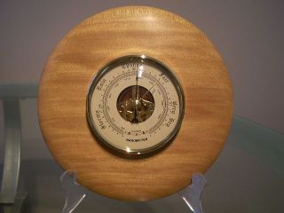 North Queensland Kauri Pine Wood Turned Wall Barometer photo